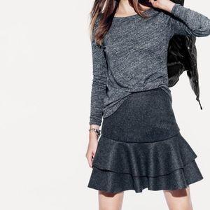 J. Crew Flounce Skirt in Grey Bonded Wool